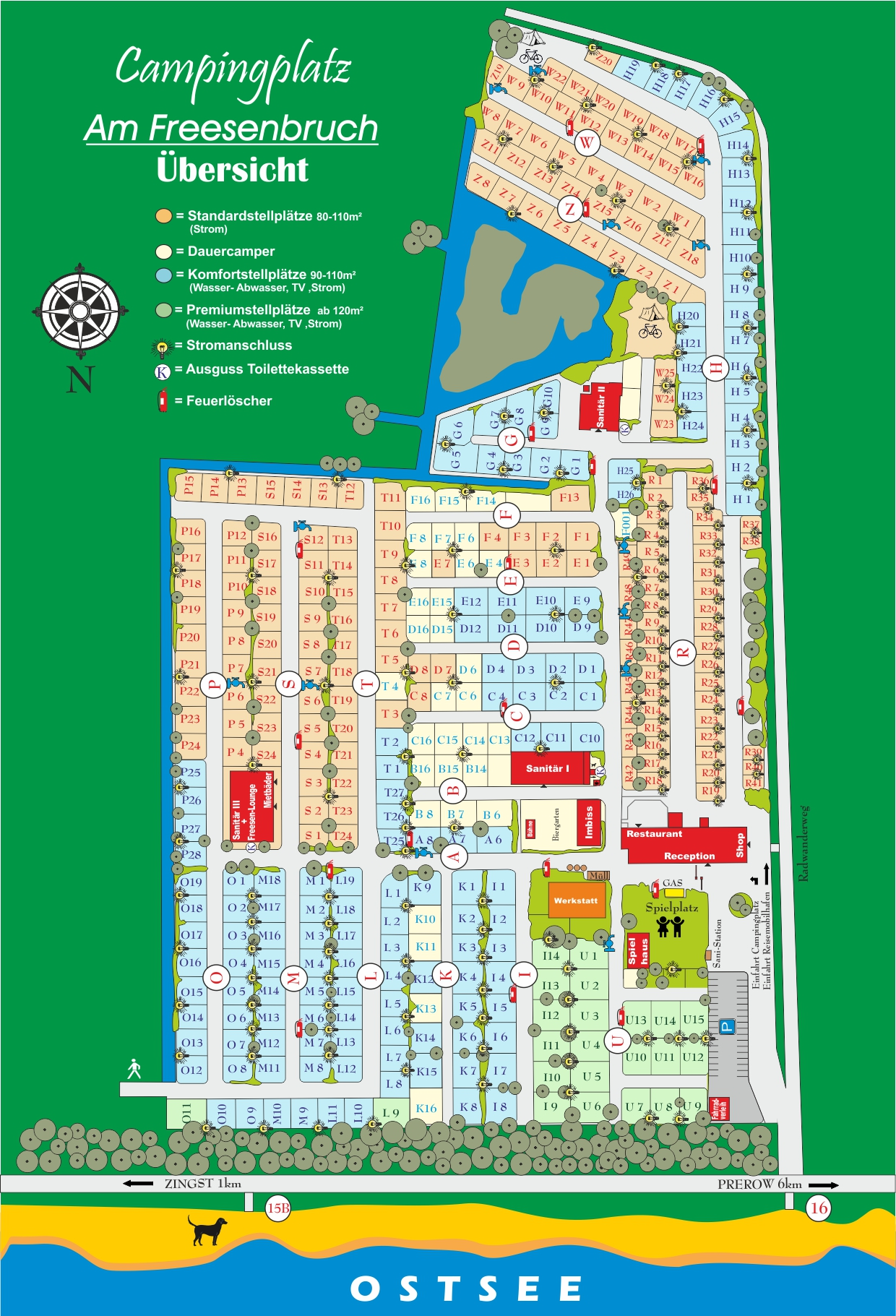 Campingplatz am Freesenbruch - Campground Map on